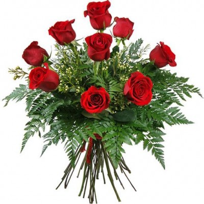 Bouquet de 9 roses rouges