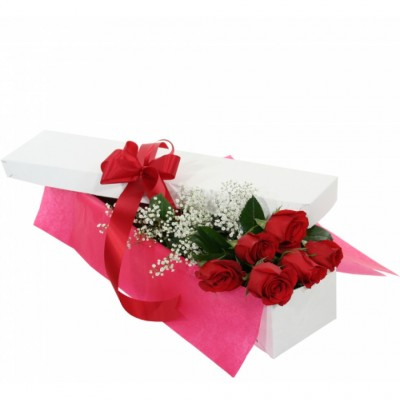 6 red roses in a box
