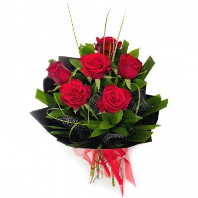 Bouquet de 6 roses rouges