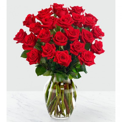 Bouquet de 24 roses rouges