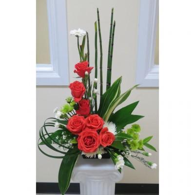Corbeille funéraire Graceful Roses