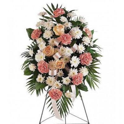 Gerbe funéraire Pastel Floral
