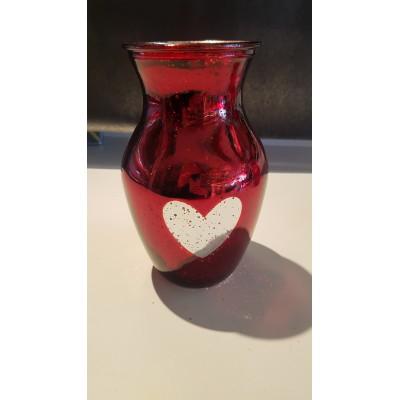 Vase coeur argenté